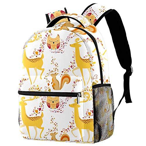 Deer Owl Squirrel Personalised School Bag for Boys and Girls - Kids School Backpack - Childrens rucksacks for Boys and Girls