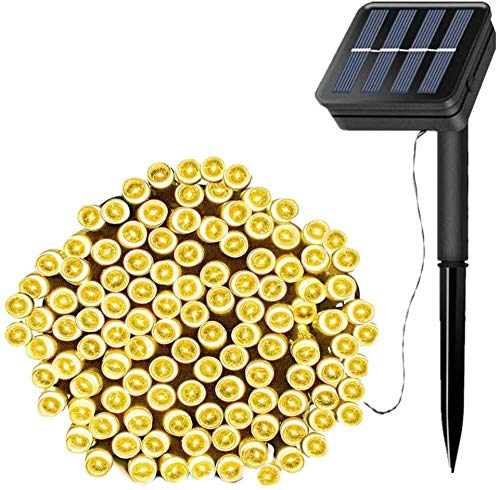 Solar String Lights, 39ft 100 LED Outdoor String Solar Powered Fairy Lights Waterproof 8 Modes Garden Decorative Lights for Tree, Patio-Warm White