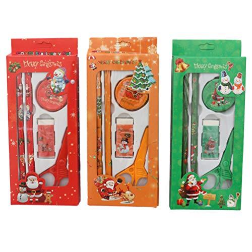 Amosfun 3 Sets Kerst School briefpapier Kit Potlood Gummetje Schaar Schaar Geschenkset voor Student Kinderen