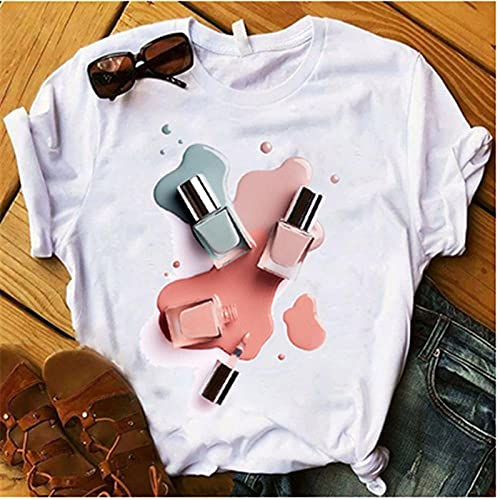 YDXC T-Shirt Ladies Nail Polish Color Printing T-Shirt Ladies T-Shirt Clothes Short Sleeve Apply To Daily Use Exercise Running Cycling Gym Etc-Nt1115_M