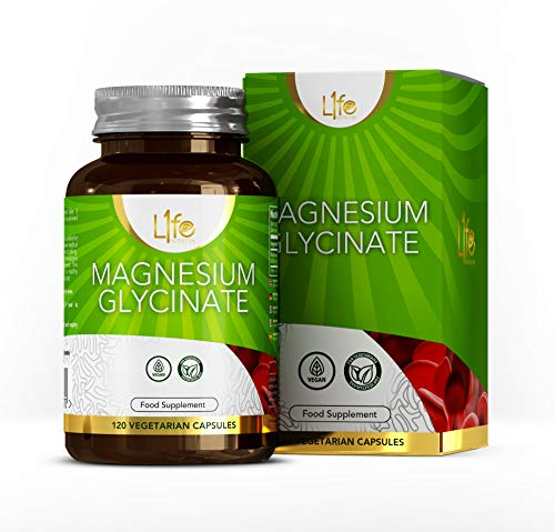 L1fe Nutrition Magnesium Glycinate Capsules | 120 Vegan Magnesium-Glycinate Supplements, 500mg per Capsule | Non-GMO, Gluten, Allergen & Dairy Free | Manufactured in The UK
