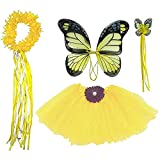 Enchantly Fairy Costume - Fairy Wings for Girls - Butterfly Costume for Girls - Yellow Wings, Tutu, Wand and Halo