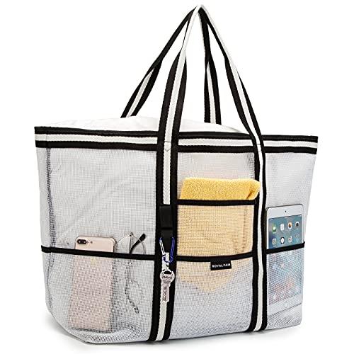 ROYALFAIR Borsa da spiaggia extra large in rete per giocattoli d'acqua, borsa da spiaggia per giocattoli d'acqua, borsa per la spesa, morbida, 41 x 38 x 22 cm (bianco e nero)