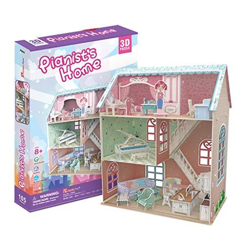 Puzzles Spielzeug Kinder pädagogisches Spielzeug Dreidimensionales Girl Haus Sarah Carey Beach Villa Mädchen DIY Kabine Brainteaser (Color : C)