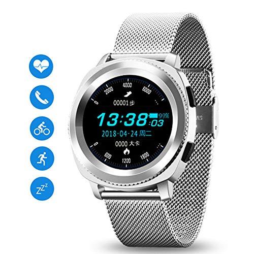 JSX Smart Watch, Wasserdicht IP68 Heart Rate Monitor Bluetooth Smartwatch Antwort Anruf Fitness Tracker-Uhr Für Xiaomi Smart Phone,Silber