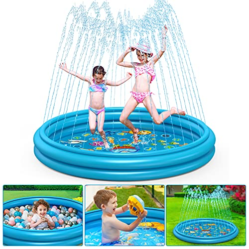 Coolkesi 3-in-1 Splash Pad, Premium Sprinkler for Kids Toddlers - 22% Thicker Durable PVC, 60