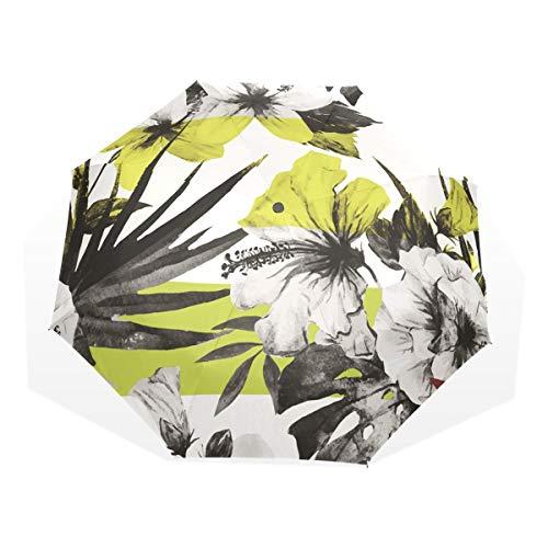 XiangHeFu Paraguas Flor Vector 3 Pliegues Ligero Anti-UV
