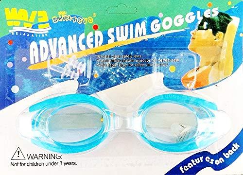 Occhiali da Nuoto Bambini - Adulti - Tappi per Naso e Orecchie - Azzurro Idea Regalo Natale Compleanno Festa