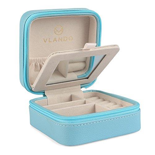 Vlanndo Kleine Faux Leder Reisen Schmuck Box Organizer Display Aufbewahrungsbox Fall für Ringe Ohrringe Halskette mit Spiegel