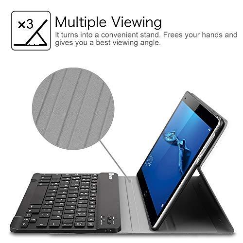 Fintie Huawei MediaPad M3 Lite 10 Bluetooth QWERTZ Tastatur Hülle - Ständer Schutzhülle mit Magnetisch Abnehmbarer Drahtloser Deutscher Bluetooth Tastatur für Huawei M3 Lite 10.1 Zoll, Schwarz - 5