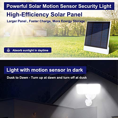 Amico LED Solar Security Light Motion Sensor Outdoor, Waterproof Solar Lights Outdoor with Motion Sensor, 3000mAh Lithium Battery 1000LM 5000K Daylight Brightness, Adjustable Heads Solar Powered Flood