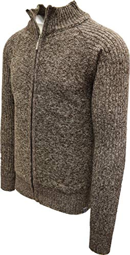 STACY ADAMS Men's Full Zippered Winter Sweaters (XL, B-Brown)