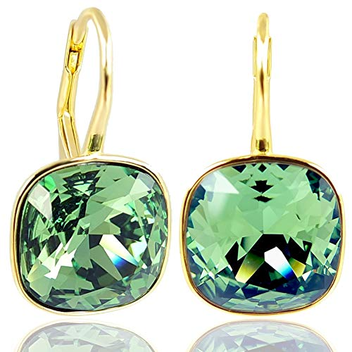 NOBEL SCHMUCK Ohrringe Gold Grün mit Kristallen von Swarovski® 925 Sterling