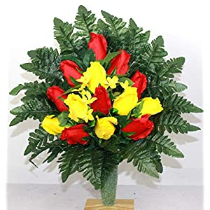 Red And Yellow Roses Cemetery Arrangement For Mausoleum
