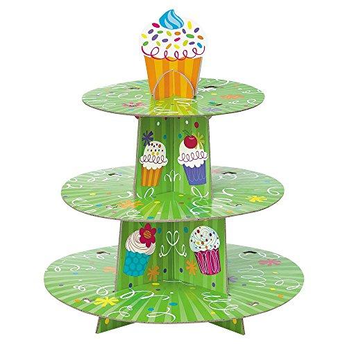 Unique Party- Alzata per Cupcake 3 Livelli, Taglia USA, 40102