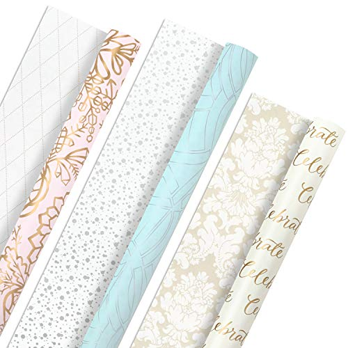 Hallmark All Occasion Reversible Wrapping Paper Bundle - Pastel & Metallic Celebrate (3-Pack: 75 sq. ft. ttl.) for Mother's Day, Weddings, Birthdays, Baby Showers, Bridal Showers or Any Occasion