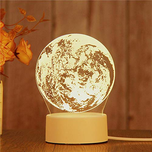 Novel Creative 3D LED Night Light Girl Kids Birthday Gift Table Lamp Living Room Home Decoration Moon