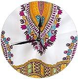 azalea store Reloj de Pared Tradicional Africano Dashiki Reloj de Pared Redondo silencioso Reloj Decorativo