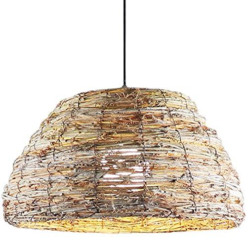 NAMFMSQ Lámpara de araña tejida retro Lámpara de ratán E27 Bombilla Edison Lámparas colgantes simples chinas Tejidas a mano Luces colgantes colgantes Decoración de interiores Linterna Ajustable en alt