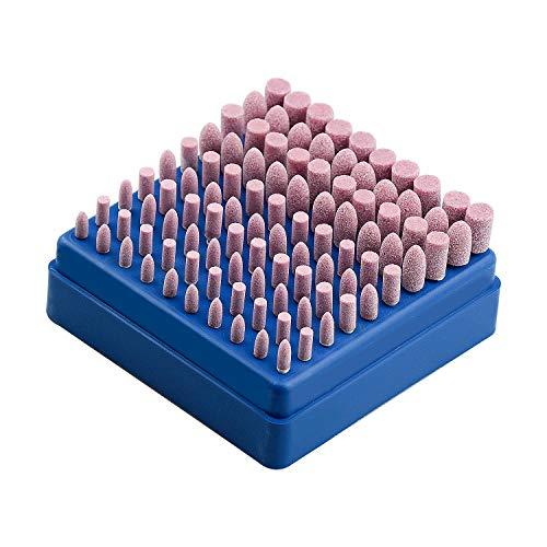 HENTEK 100 Stück Schleifaufsätze Schleifen Polierkopf 3mm Schaft Schleifdorn Montiert Schleifen Polierwerkzeug