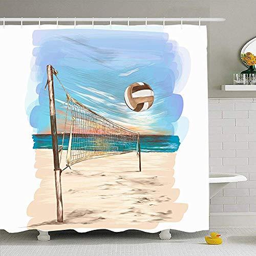 Duschvorhang Set Mit Haken 120X180Cm Ball Strand Freizeit Wasser Volleyball Himmel Landschaft Skizze Grafik Grafik Sport Linie Erholung