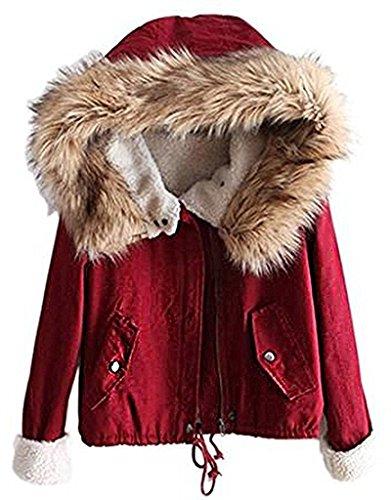 Minetom Damen Warm Verdicken Winterjacke Mantel Mit Plüsch Kapuze Winddicht Tasche Tunnelzug Kurze Parka Gezeichnet Jacke Outerwear Rot DE...