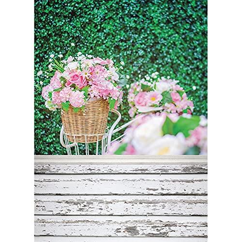 Fondo de fotografía de Primavera Hojas Flor Piso de Madera Fondo de Vinilo Foto de Estudio para niños recién Nacidos sesión fotográfica A10 2,7x1,8 m
