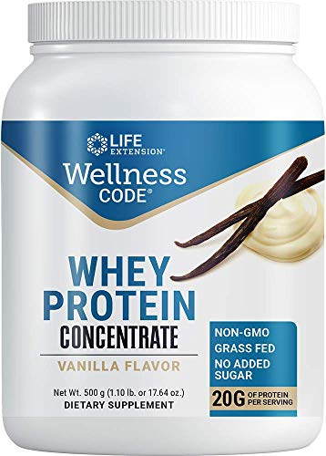 Life Extension Wellness Code Whey Protein Concentrate 20g Muscle Growth & Immune Health - Sourced From Grass-Fed, Free-Range, Hormone-Free Cows, Non-GMO, No Added Sugar, Vanilla- 500g