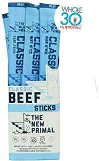THE NEW PRIMAL Classic Beef Meat Sticks 100% Grass-Fed & Grass-Finished Beef, High Protein, Paleo, Whole30 Approved, Keto, 1g carb, 0 g sugar, gluten-free (20 Pack, 1 oz sticks)