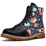 TIZORAX Comic Cartoon Fox Prints High Top Lace Up Klassische Canvas Winterstiefel Schule Schuhe für Herren Teen Jungen, Mehrfarbig - mehrfarbig - Größe: 41 1/3 EU