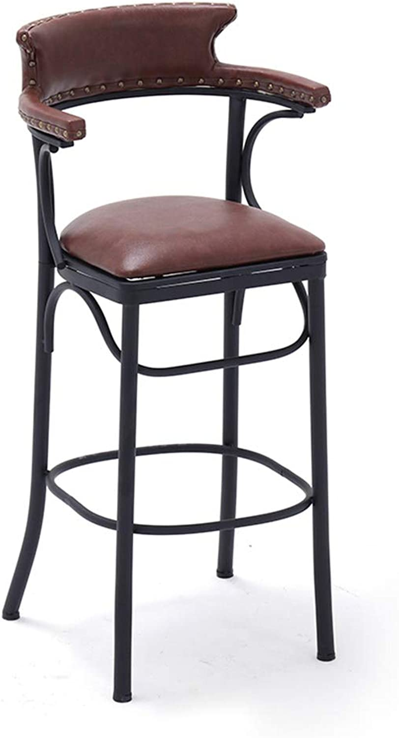Bar Stool,Wrought Iron PU Pad Bar Chair High Stool Modern Dining Chair Suitable for Bar Cafe Restaurant Front Deskliving Room (color   Brown)