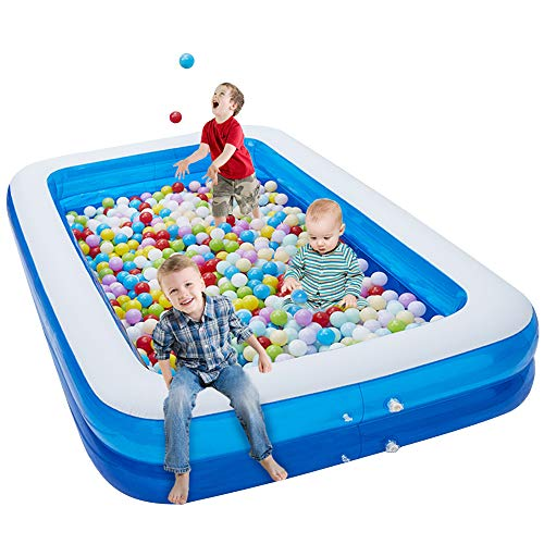 YIEZI 2 Big Individual Air Chamber Inflatable Swimming Pool, Easy to Inflate Outdoor Pool with Durable PVC, Perfect Size for Family Adult Kids and Kiddy in The Hot Day (L103 x W66.9 x H18.5 inch)