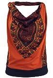Guru-Shop Goa Top, Dashiki Psytrance Neckholder Top, Damen, Rostorange, Baumwolle, Size:S/M (34/36), Tops & T-Shirts Alternative Bekleidung