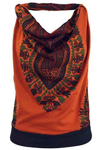 GURU SHOP Goa Top, Dashiki Psytrance Neckholder Top, Damen, Rostorange, Baumwolle, Size:S/M (34/36), Tops & T-Shirts Alternative Bekleidung