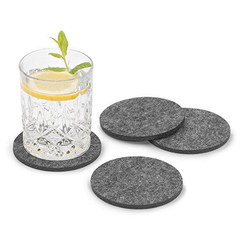 FILU Filzuntersetzer rund 8er Pack (Farbe wählbar) dunkelgrau - Untersetzer aus Filz für Tisch und Bar als Glasuntersetzer/Getränkeuntersetzer für Glas und Gläser ? grau