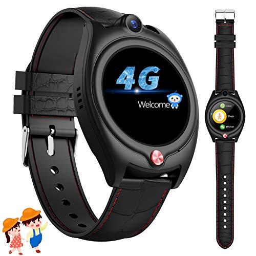 4G Smartwatch Kinder,GPS Uhr Kinder Smartwatch mit Telefon mit wasserdichte WiFi SOS Videoanruf Wecker Schrittzähler für Jugendliche Jungen Mädchen (Schwarz)