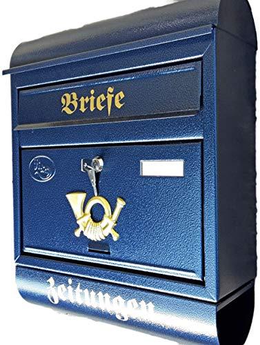 Naturholz-Schreinermeister Großer Briefkasten/Postkasten Blau mit Zeitungsrolle Zeitungsfach Runddach
