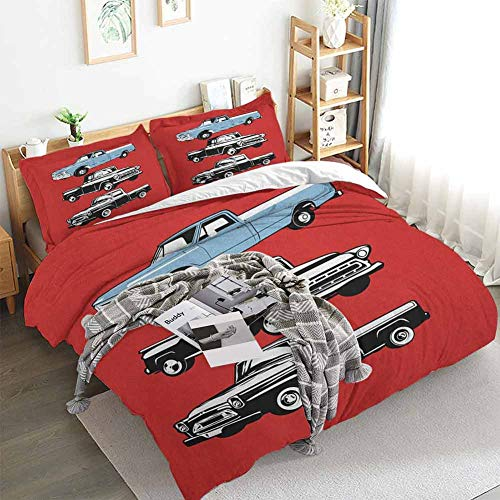 Truck Duvet Cover Set,Vintage Pickup Vehicle Designs on Abstract Ruby Background Inner City Transport,Decorative 3 Piece Bedding Set with 2 Pillow Shams,California King(104'x98') Ruby Blue White