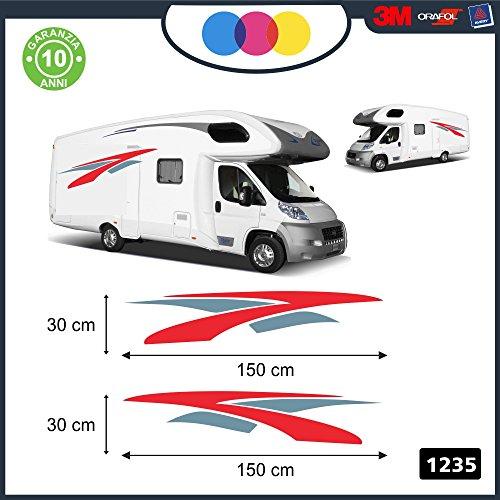 mural stickers Adesivi per Camper per ENTRAMBE Le FIANCATE - - Curve E Linee Fantasia - - Decorativi - cod. 1235 (Rosso-Grigio)