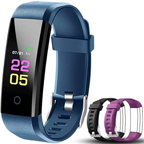 OumuEle - Reloj de pulsera con monitor de ritmo cardíaco, resistente al agua, con monitor de sueño, pulsera inteligente con contador de calorías, podómetro para mujeres y hombres, Negro y rosado