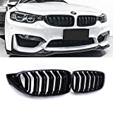 SNA Gloss Black ABS Front Kidney Grille with Double Slats Mesh Grill Compatible for BMW 4 Series F32 F33 F36 (2014+) F82 F83 M4 F80 M3 (2015+) 2-pc Set