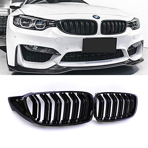SNA Front Kidney Grill Fit for BMW 4 Series F32 F33 F36 (2014+) F82 M4 F80 M3 (2015+) (Black Double Slats ABS Grille, 2-pc Set)