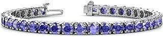 TriJewels Gemstone 4mm Womens Eternity Tennis Bracelet 14K White Gold