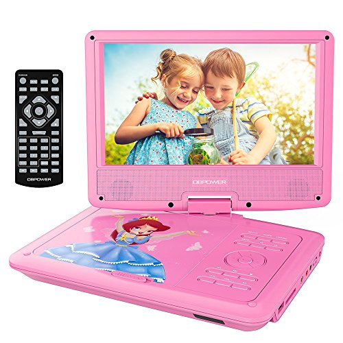 DBPOWER Portable DVD Player with 9.5 Swivel Screen, Supports SD Card/USB/CD/DVD with AV in/Out and Earphone Port, 5-Hour Built-in Rechargeable Battery, Suitable for Car Headrest Mount ?Upgraded ?