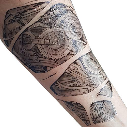 Robotic Tattoo transfer on Paper sheet size 21cm X 15cm Idea steampunk temporary tattoo for music, Steampunk festivals, Halloween, fancy dress parties Temporary Robot Tattoo takes 1 to 2min to apply using water Remove easily with warm water or baby o...