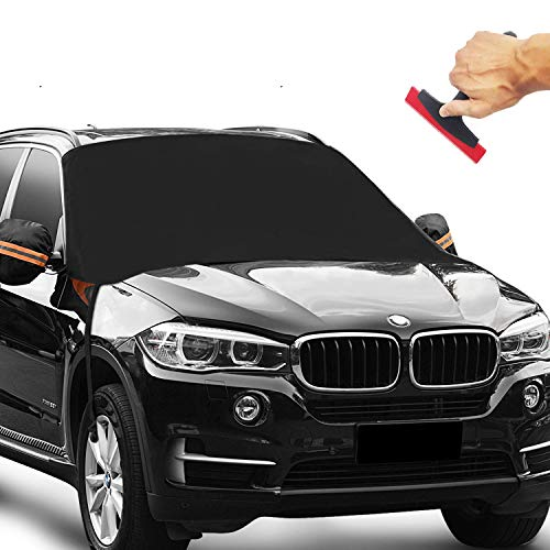 """Krewey Car Windshield Snow Cover with Bonus Car Ice Scraper,Waterproof Windshield Winter Cover for Ice, Snow, Frost, UV Protection, Extra Large Size Fits for Most Vehicles (85""""x 50"""") (Black)"""