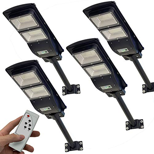4 Pack Solar Street Light, 4000LM LED Solar Power Street Lamp Outdoor Dusk to Dawn for Parking Lot, Yard, Garage and Garden