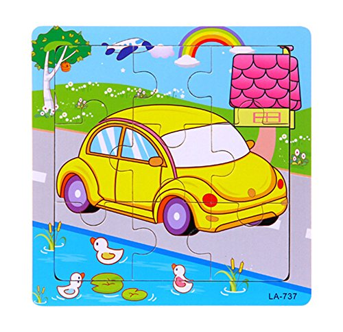 Set Of 2 Cartoon Jigsaw Puzzle Pour Infant and Toddler Bois Puzzle, Voiture
