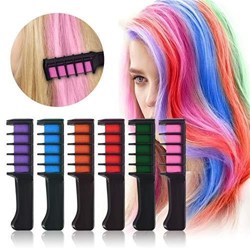 Haarkreide Kamm, sofortige temporäre Haarkreide Farbe, 6 Stück/Set Mini Dye Haar Kamm für Mädchen Weihnachten Geheimgeschenk