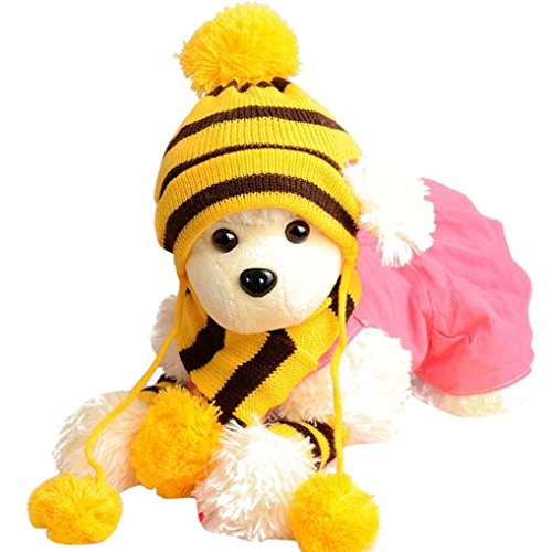 LNGRY 6Pc/Set Dog Pet Puppy Hat Scarf Leg Warmer Pet Clothes (Yellow, L) - http://coolthings.us